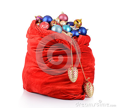 Santa Claus red bag with Christmas toys