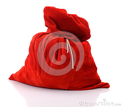 Santa Claus red bag full, on white background