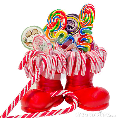 Free Santa Claus Red Boots, Shoes With Colored Sweet Lollipops, Candys. Saint Nicholas Boot With Presents Gifts. Stock Images - 47775324