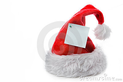 Santa claus red cap with note