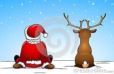 Santa Claus and a reindeer
