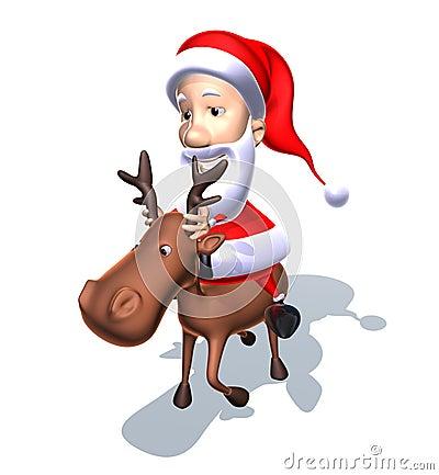 Santa Claus on a reindeer