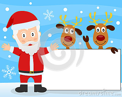 Santa Claus and Reindeer Banner