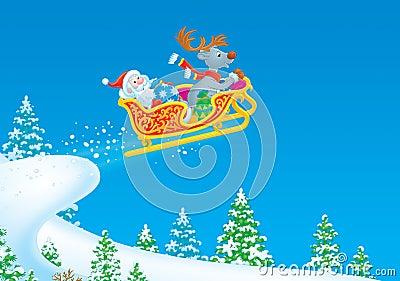 Santa Claus and Reindeer flies in the sleigh