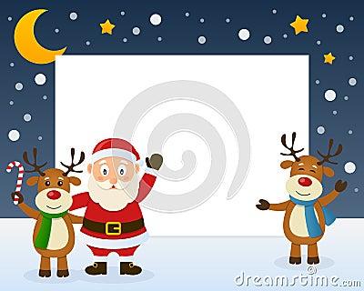 Santa Claus and Reindeer Frame