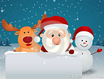 Santa Claus with reindeer and snowman with blank sign