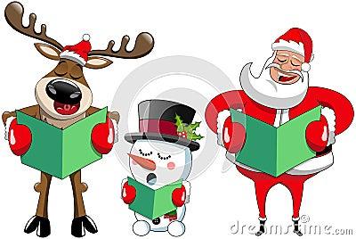 Santa Claus reindeer snowman singing christmas carol Vector Illustration
