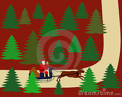 Santa Claus is riding on his reindeer sleigh