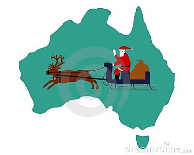 Santa Claus riding on his sleigh in Australia