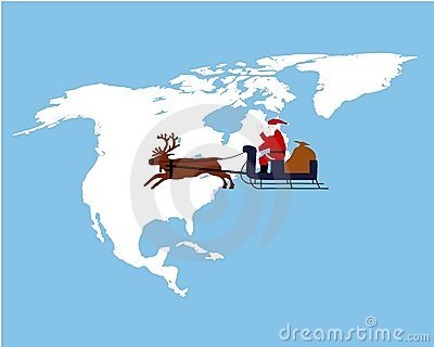 Santa Claus riding on his sleigh in North America