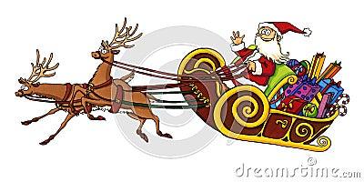 Santa Claus riding in a sleigh