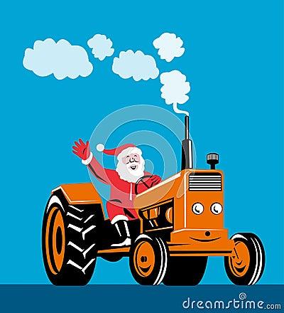 Santa Claus riding a tractor