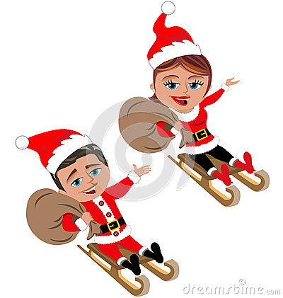 Santa Claus Riding on Wooden Sleg or Sleigh