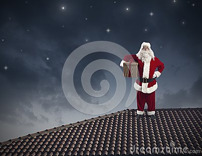 Santa Claus on a roof