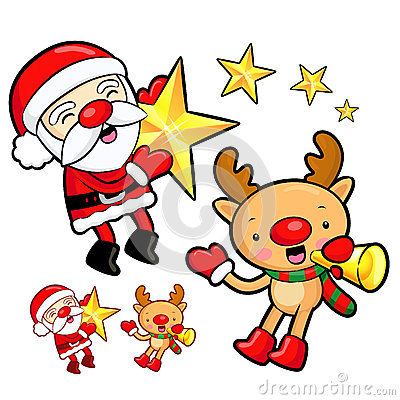 Santa Claus and Rudolph mascot the event activity