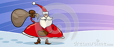 Santa Claus and sack cartoon card