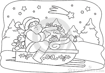 Santa Claus with sack in sled
