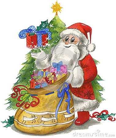 Santa Claus with sack and tree