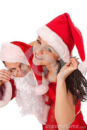 Santa Claus with sexy girl