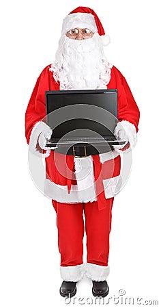 Santa claus shows laptop