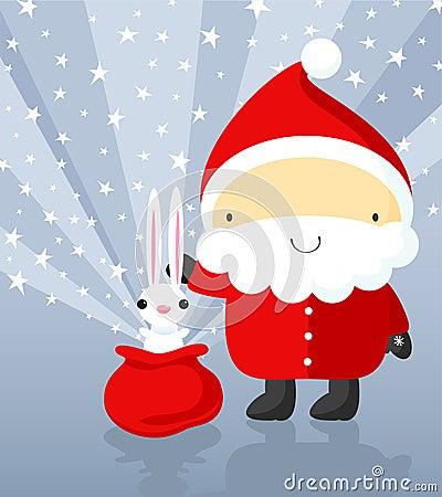 Santa Claus shows magic tricks with rabbit