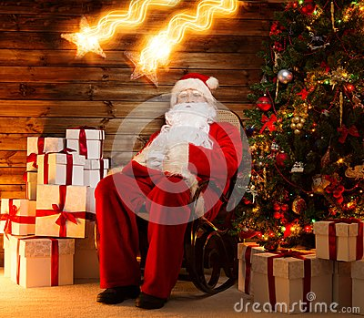 Santa Claus sitting on rocking chair