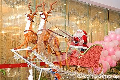 Santa claus & sled & reindeer 1