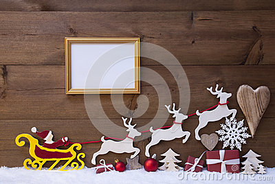 Santa Claus Sled, Reindeer, Snow, Christmas Decoration, Frame Stock Photo