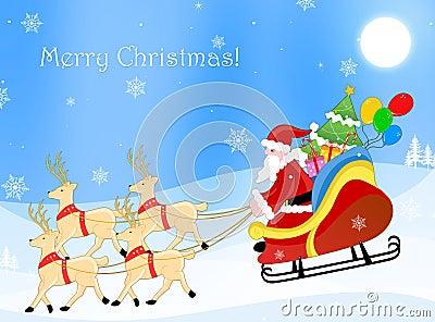 Santa claus on a sledge