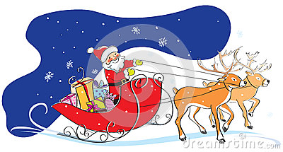 Santa Claus in sledge, Christmas gifts, deers