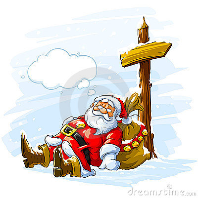 Santa Claus sleeping near the post with arrow