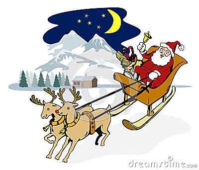 Santa Claus in a sleigh
