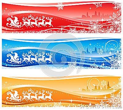Santa Claus Sleigh Banners