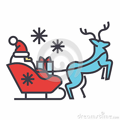 Santa Claus in a sleigh with a deer concept. Vector Illustration