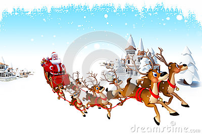 Santa claus with sleigh before many buildings