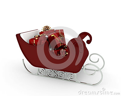 Santa Claus sleigh with many red gift