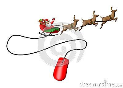Santa Claus sleigh mouse