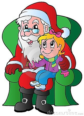 Santa Claus and small girl