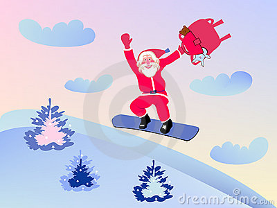 Santa Claus and snowboard