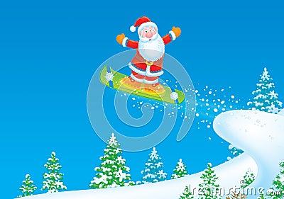 Santa Claus snowboarder