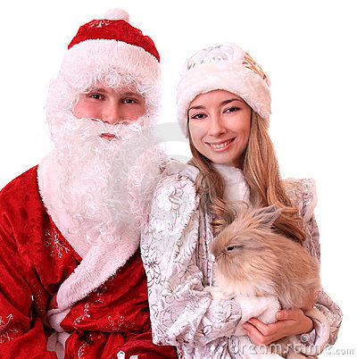 Santa Claus and a Snowmaiden with  rabbit.