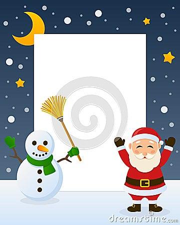 Santa Claus and Snowman Frame