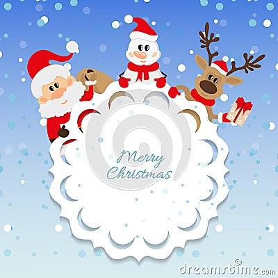 Santa Claus, snowman and reindeer