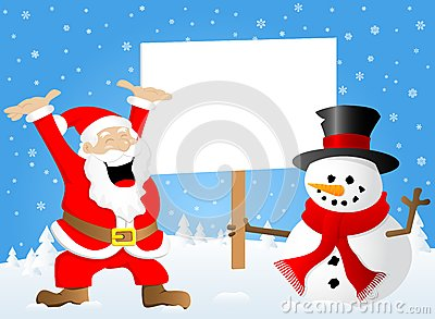 Santa claus and a snowman with sign in his hand