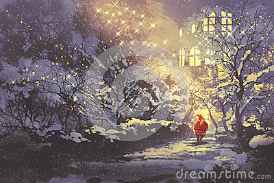 Santa Claus in snowy winter alley in the park with christmas lights on trees Cartoon Illustration