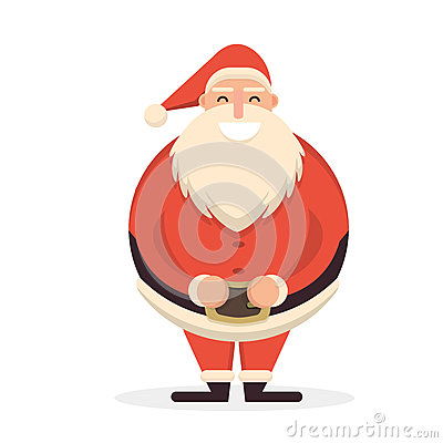 Free Santa Claus Standing Straight With His Hands On Belt. Cute Carto Royalty Free Stock Photos - 80369938