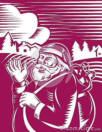 Santa Claus standing and waving