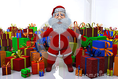 Santa Claus stands round the great number of gifts