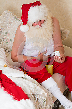 Santa Claus with stomach ache