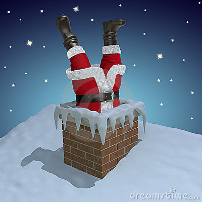 Santa Claus Stuck In The Chimney Stock Photography Image